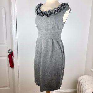 London Times Sheath Size 12 Gray Career Dress